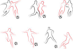 Players football set. Hand drawn and artistic Royalty Free Stock Photography