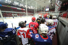 Players go on the ice to closing ceremony Royalty Free Stock Photo
