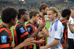 Players are greeting each other after the match Stock Photography