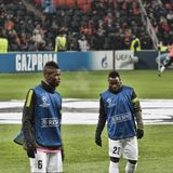 Players Juventus Asamoah right and Pogba left at a warm-up b