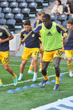 Players of Metalist warms-up Royalty Free Stock Photos