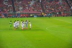 Players of Nakhon Ratchasima MAZDA Football Club celebeates Stock Image