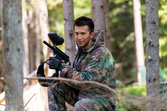 Players in paintball prepare for fight Royalty Free Stock Photography