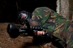 Players in paintball prepare for fight Stock Photo