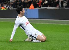 Heung-Min Son goal celebration. Players pictured during the UEFA Champions League Round of 16 game between Tottenham Hotspur and Juventus Torino held on March 7 Royalty Free Stock Images