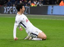 Heung-Min Son goal celebration. Players pictured during the UEFA Champions League Round of 16 game between Tottenham Hotspur and Juventus Torino held on March 7 Stock Photo