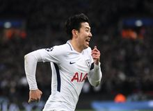 Heung-Min Son goal celebration. Players pictured during the UEFA Champions League Round of 16 game between Tottenham Hotspur and Juventus Torino held on March 7 Stock Image