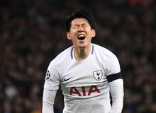 Heung-Min Son. Players pictured during the UEFA Champions League Round of 16 game between Tottenham Hotspur and Juventus Torino held on March 7, 2018 at Wembley Royalty Free Stock Photo