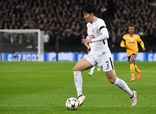 Heung-Min Son. Players pictured during the UEFA Champions League Round of 16 game between Tottenham Hotspur and Juventus Torino held on March 7, 2018 at Wembley Royalty Free Stock Image