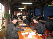Players play Chinese chess in traditional festival Royalty Free Stock Images