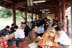 Players play Chinese chess in traditional festival Stock Photos