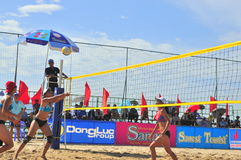 Players are playing in a match in the Women beach volleyball tournament in Nha Trang city Stock Photo