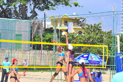 Players are playing in a match in the Women beach volleyball tournament in Nha Trang city Stock Images