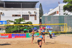 Players are playing in a match in the Women beach volleyball tournament in Nha Trang city Royalty Free Stock Images