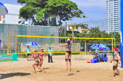 Players are playing in a match in the Women beach volleyball tournament in Nha Trang city Royalty Free Stock Photography
