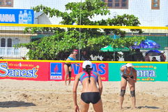 Players are playing in a match in the Women beach volleyball tournament in Nha Trang city Royalty Free Stock Photos