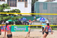 Players are playing in a match in the Women beach volleyball tournament in Nha Trang city Stock Photography