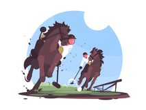Players playing polo on green field vector illustration