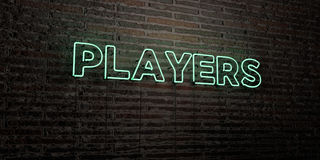 PLAYERS -Realistic Neon Sign on Brick Wall background - 3D rendered royalty free stock image. Can be used for online banner ads and direct mailers Vector Illustration