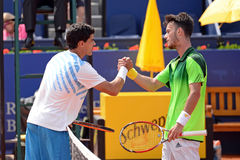 The players Rui Machado (left) and Javier Marti (right) shake hands Royalty Free Stock Photography