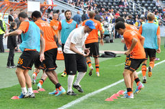 Players of Shakhtar doing exercises Stock Image