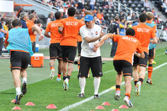 Players of Shakhtar warms-up Stock Photo