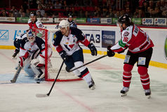 Players Slovan (Bratislava) and the Donbass (Donetsk) fight for the puck at the gate Stock Image
