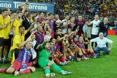 Players and Staff of Steaua Bucharest posing with the Trophy Royalty Free Stock Image