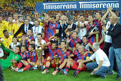 Players and Staff of Steaua Bucharest posing with the Trophy Royalty Free Stock Photography