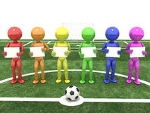 Players stand and hold hands on a background of signs #2 Royalty Free Stock Photography