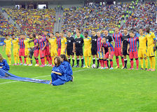 Players of Steaua Bucharest and Petrolul Ploiesti in group photo Royalty Free Stock Photo