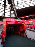 Players Tunnel of Manchester United. The players' tunnel at the South-West corner of Manchester United FC at Old Trafford Stadium. The tunnel leads up to the Royalty Free Stock Images