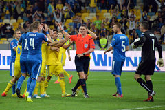 Players of Ukraine appealed to the referee Royalty Free Stock Photo