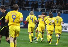 Players of Ukraine national soccer team Stock Photo