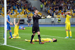 Players of Ukraine near the opponents' goal Royalty Free Stock Photography