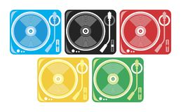 Players of vinyl. Players of vinyl under the color of the Olympiad. Vector format Royalty Free Stock Photo