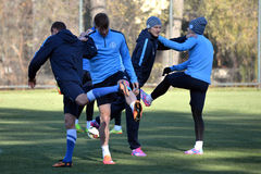 The players warm up during a training session Royalty Free Stock Images