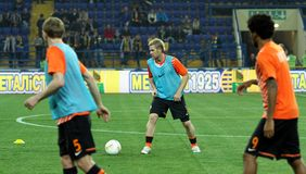 Players warming-up before football match Royalty Free Stock Images