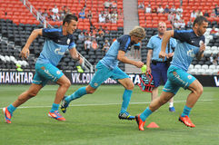Players of Zenit warms-up Royalty Free Stock Photography