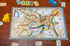 Playfield of Ticket to Ride: Europe board game. MOSCOW, RUSSIA - JUNE 5, 2019: playfield of Ticket to Ride: Europe board game. This game was designed by Alan R royalty free stock photos