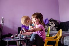 Playful afternoon, preparing eggs for Easter royalty free stock images