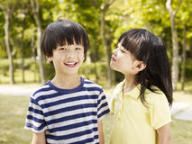 Playful asian brother and sister Royalty Free Stock Images