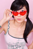 Playful Asian Girl with Sunglasses Stock Images