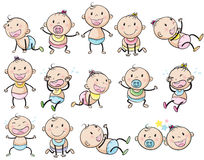 Playful babies. Illustration of the playful babies on a white background Stock Photos
