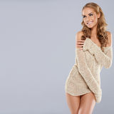 Playful beautiful blonde model Stock Images