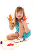 Playful beauty girl with many-coloured hands Royalty Free Stock Photos