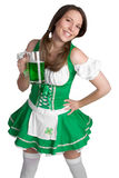 Playful Beer Girl Royalty Free Stock Photography