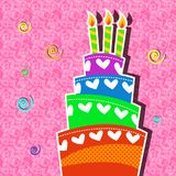 Playful birthday cake with candle card. Playful birthday cake vector card with candle and ribbons Stock Image