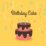 Playful birthday cake with chocolate glaze and candle on bright bacckground. Vector illustration. Playful birthday cake with chocolate glaze and candle on Stock Image