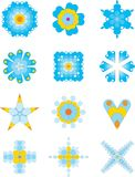 Playful blue ornaments collection. Collection of 12 whimsical ornaments Stock Image